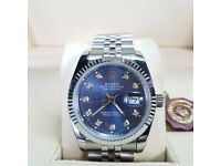 Silver Rolex Datejust, blue face. Comes Rolex boxed, paperwork & 1 years warrenty.