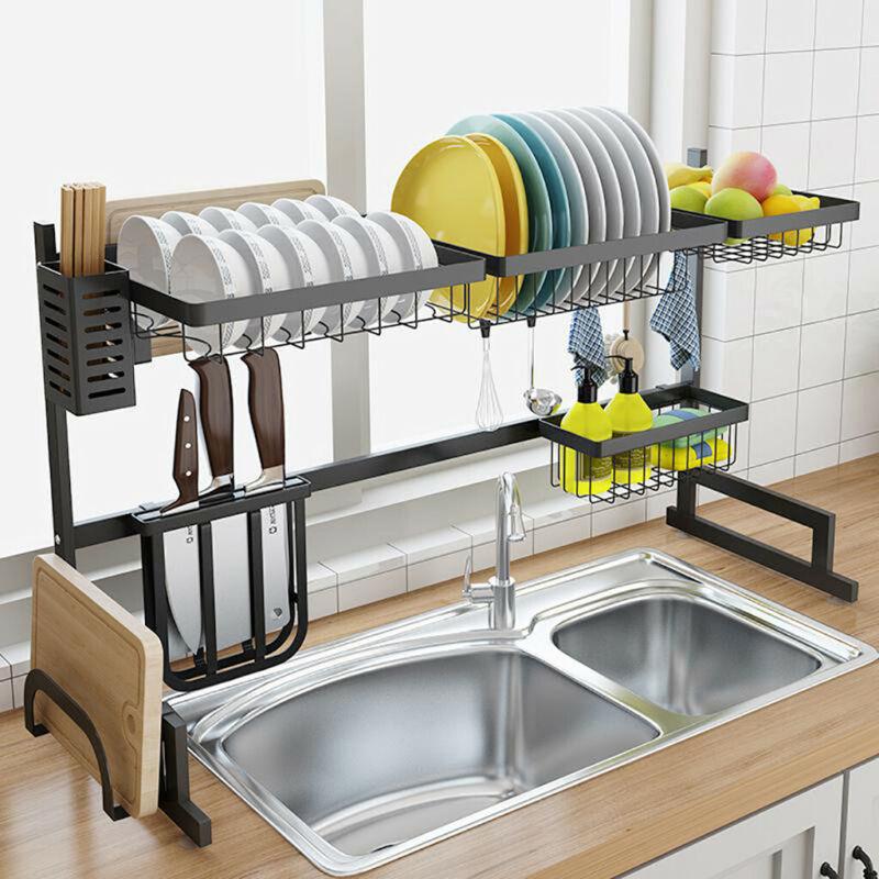 Dish Drying Rack - Kitchen Holder Shelves Over Sink Display