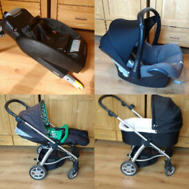 Travel Set. Mamas And Papas Sola Carry Cot and Pushchair. Maxi Cosi Car Seat and IsoFix Base