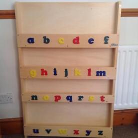 Tidy books alphabet book case