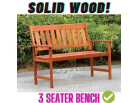 JAKARTA SOLID WOOD (NATURAL TAN) 3 SEATER GARDEN BENCH OUTDOOR PATIO FURNITURE