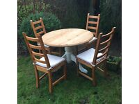 Shabby Chic Solid Pine Farmhouse Country Round Table and 4 Chairs