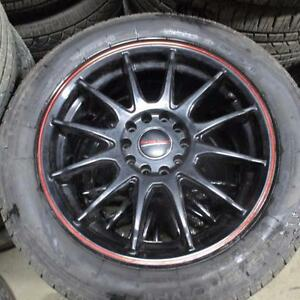 "GT RADIAL CHAMPIRO VP1 205/55R16 TIRES 95% TREAD ON 16"" AFTERMARKET RIMS UNIVERSAL BOLT PATTERN 5X112 OR 5X114.3"