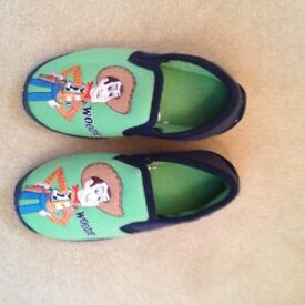 "Hardly worn: Disney Pixar Toy Story ""Woody"" slippers, kids' size 13"