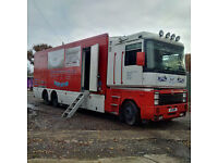 RHD NOT LHD: Renault Magnum AE 430 6X2 26 Ton Mobile shop, fridge freezer box lorry. Renault engine.