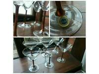Vintage Crystal martini glasses with real gold painted rims