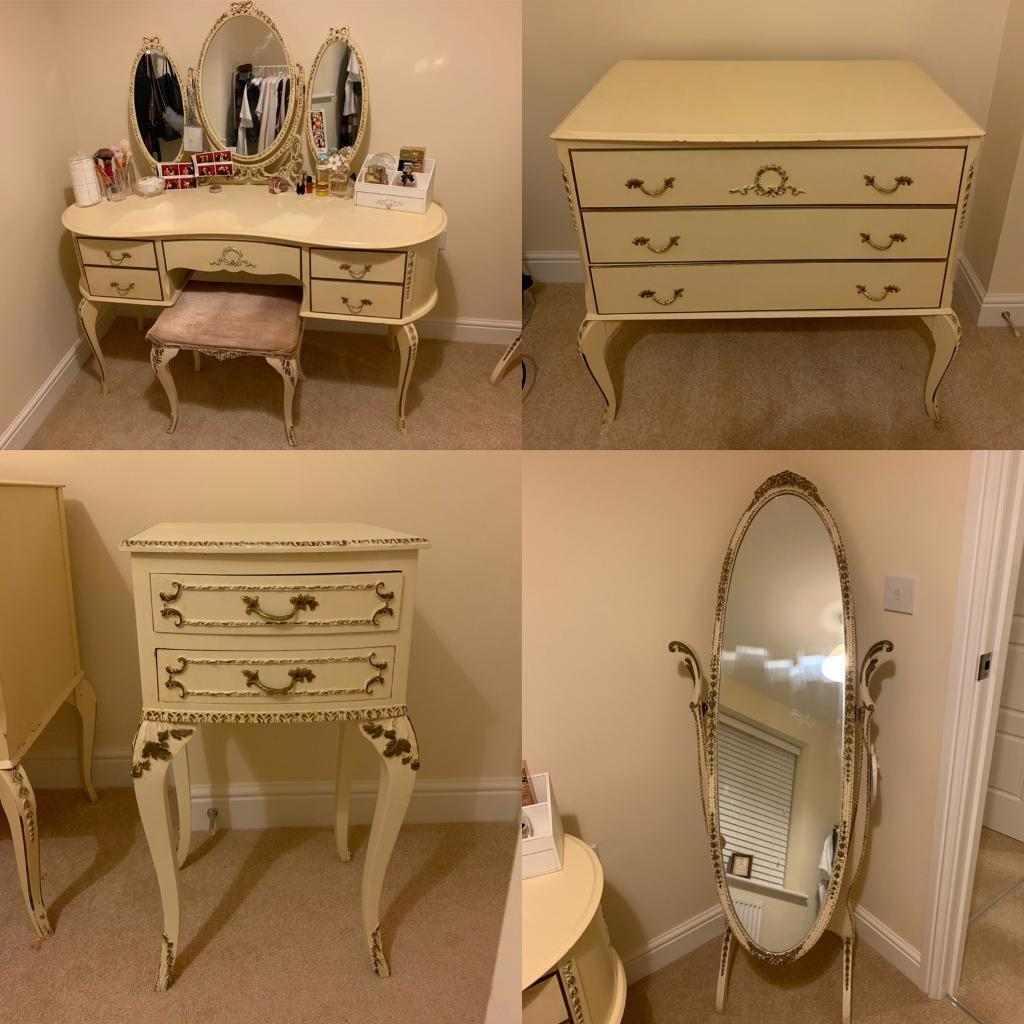 Vintage French Louis Style Shabby Chic Bedroom Furniture