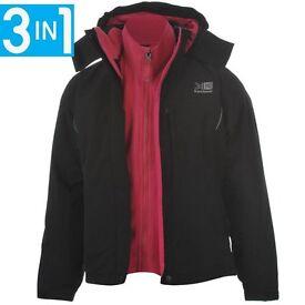 Karrimor Weathertite 3 in 1 Girls Jacket. Black & Pink. Hooded, showerproof. Age 7-8 Used. VG Cond.