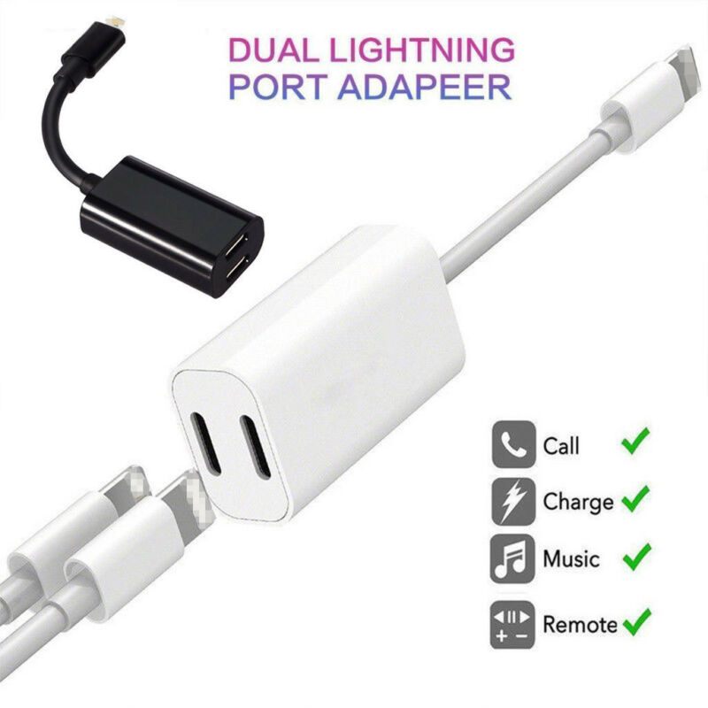 Dual Adapter For iPhone Xs Max Xr XS X 7 8 Plus Splitter Aud