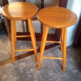 2 retro vintage wooden orange bar stools
