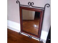 Large Iroko wood & metal surround Mirror