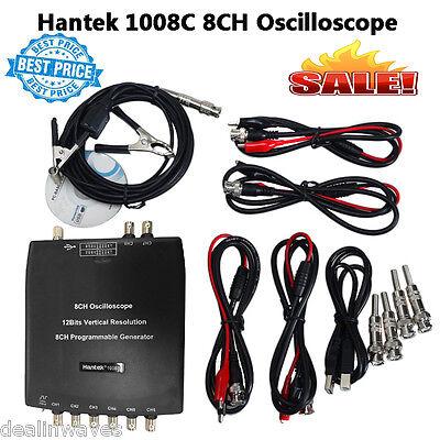 Hantek 1008c Pc Usb 8ch Auto Diagnostic Oscilloscope Daq Program Generator New