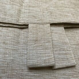 BRAND NEW - TAB TOP 66W x 54D - LINEN LOOK 'OATMEAL' CURTAINS - BARGAIN £10