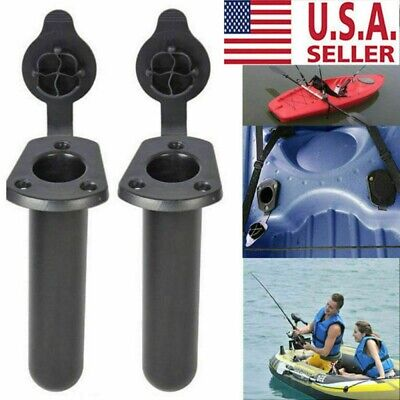 2Pcs Flush Mount Fishing Boat Rod Holder Bracket With Cap Cover for Kayak Pole