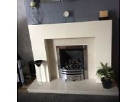 MDF fire surround with marble hearth and back