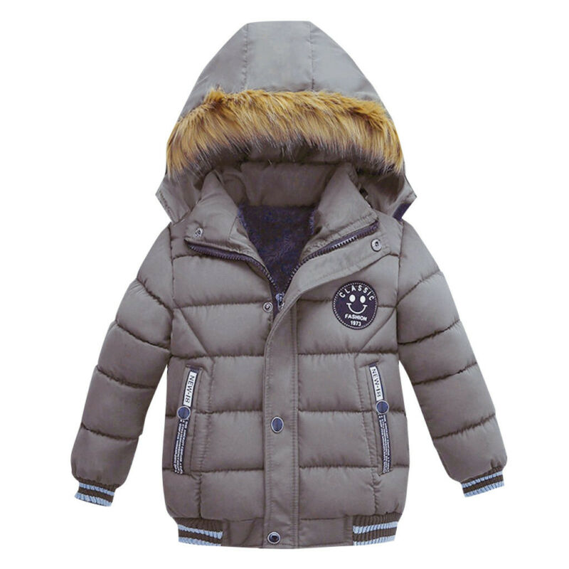 Baby Boys Coat Children Winter Jacket Outwear Kids Jacket Warm Hooded Clothes UK