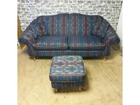 Large Two Seater Sofa, 3x Armchairs with Footstool