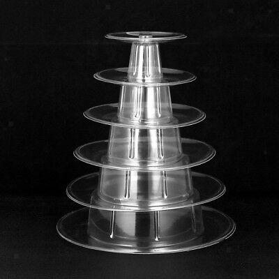 6 Tier Round Macaron Tower Cake Stand Tray Display Rack for Wedding Birthday (Macaron Display Tray)
