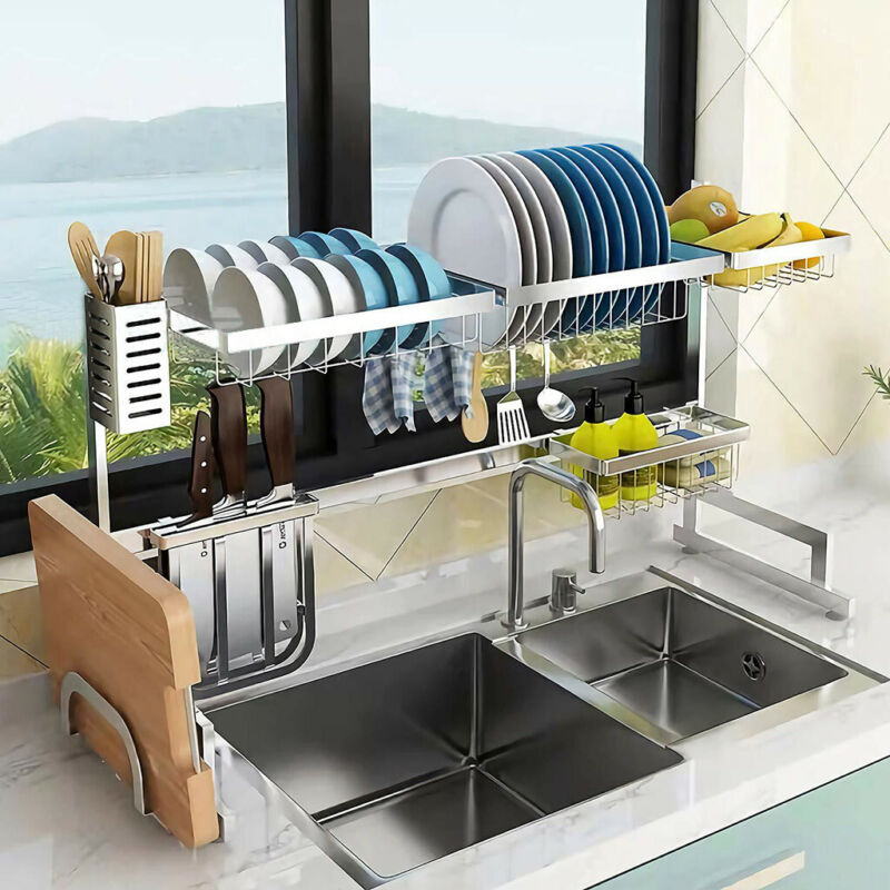 Kitchen Dish Drying Rack Over Sink Drainer Dryer Tray Cutler