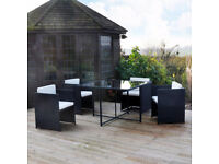 BRAND NEW garden patio rattan set table and 4 chairs cube