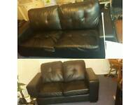 2 leather sofa and a 3 seater sofa bed