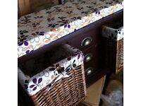 Geko Wooden Storage Bench with Wicker Drawer Baskets Ottoman, BRAND NEW