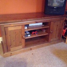 Solid oak television unit x2