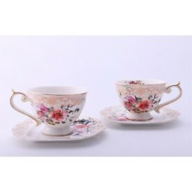Malooki The Luxury Collection Floral / Rose Tea Cups & Saucers Set - Ideal Gift