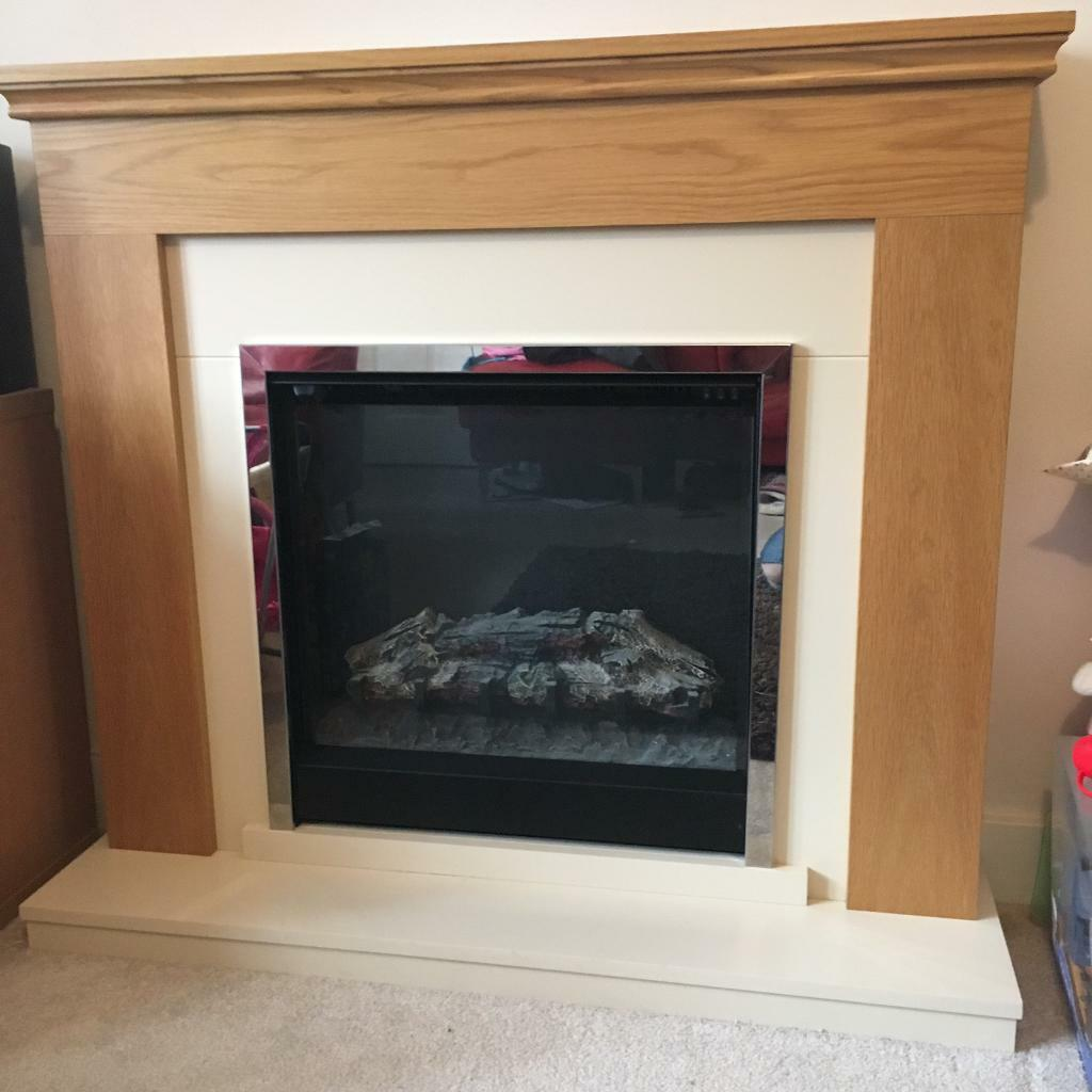durham electric fire suite natural oak in long eaton