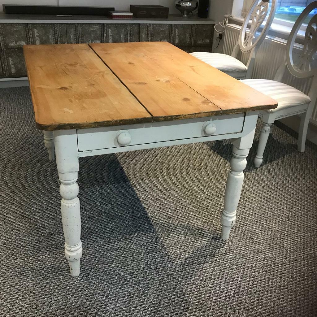 Original Vintage Farmhouse Table With Drawer