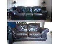 Leather sofas, 3 seater & 2 seater