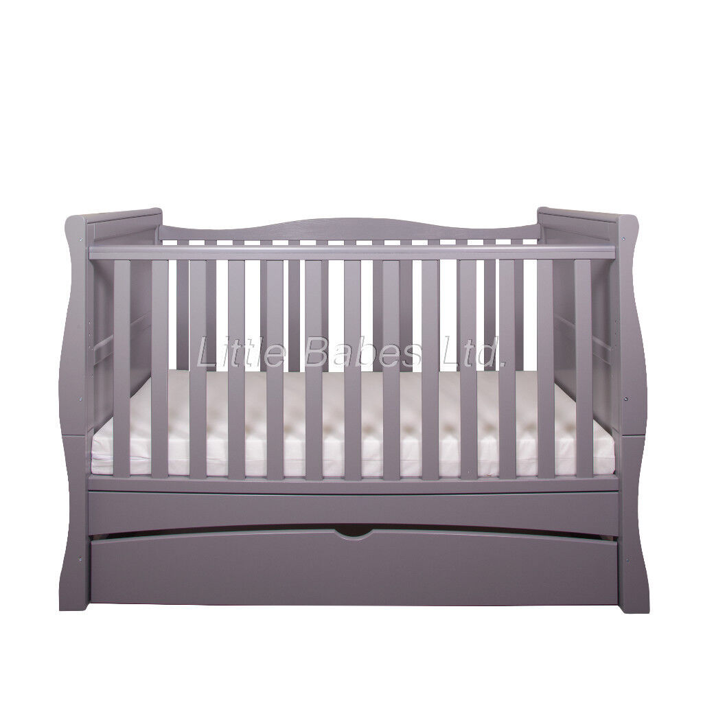 Beautiful Grey 3 In 1 Sleigh Cot Bed Junior Bed Sofa Bed