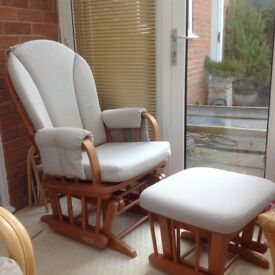 Conservatory furniture/ maternity rocking chair and stool, 10 X Gold Venetian blinds