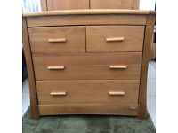 Mamas and papas oak nursery furniture, wardrobe, cot and changing table