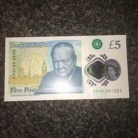 £5 new note AB40 code