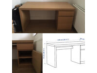 IKEA malm desk with drawer and storage unit