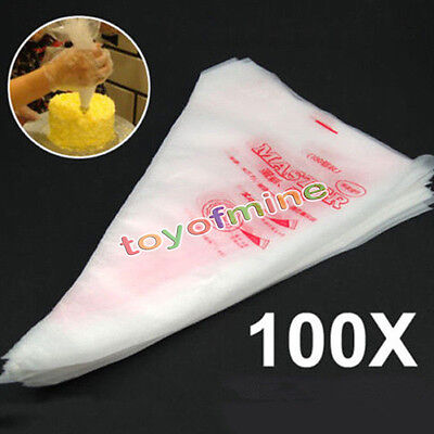 100pcs Fondant Cake Cupcake Pastry Decorating Icing Piping Bag Nozzles Tips Bags