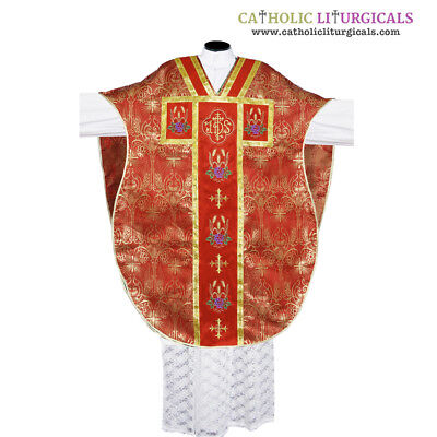 Red Chasuble - Metallic Red Chasuble.St. Philip Neri Style vestment & mass set 5 pc, IHS