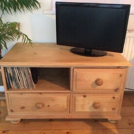 Waxed pine hi fi or TV unit for sale