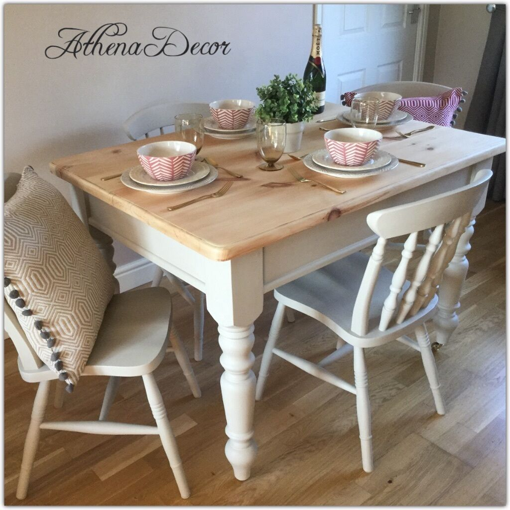 Rustic pine shabby chic 4 seater dining table and chairs for Rustic shabby chic dining table