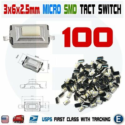 100pcs Momentary Tact Tactile Push Button White Switch Micro Smd Smt Pcb 2 Pin