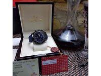 New blue face blue canvas leather bracelet black Casing Omega Speedmaster Dark Side Of The Moon wit