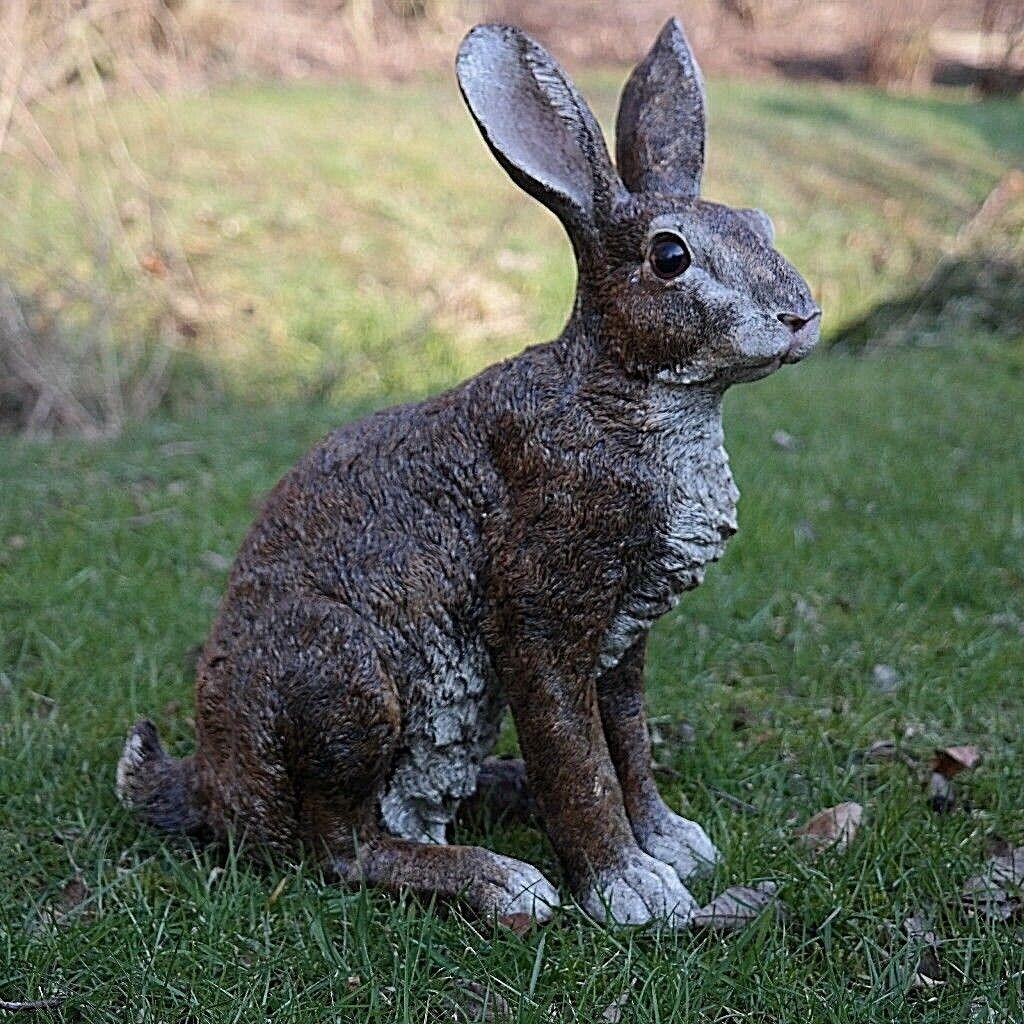 Dekofigur Hase Kaninchen Tierfigur Gartenfigur Wildkaninchen Zwerghase Rammler