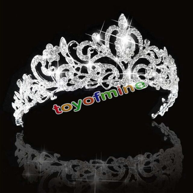 Bridal Princess Stunning Austrian Crystal Hair Tiara Wedding Crown Veil Headband