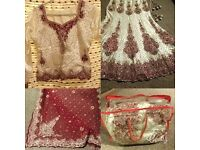Asian Bridal Maroon+Cream Satin Lengha *Like New* Indian/Pakistani 3piece Wedding Dress