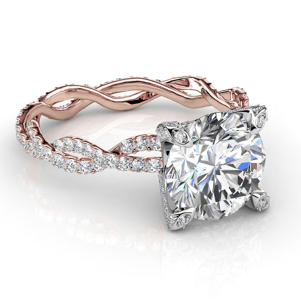 2.0 CTW Natural Round Cut Twisted Eternity Pave Diamond Engagement Ring - GIA 2