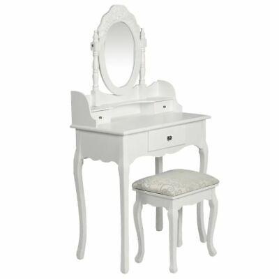 vidaXL Tocador con Espejo y Taburete Blanco Moderno Madera Mueble Maquillaje