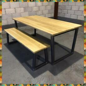 Dining table/bench/solid oak/steel/industrial/kitchen