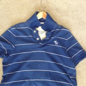 Men's Blue & White Stripe Abercrombie & Fitch Polo T-Shirt - Size Large - Muscle Fit