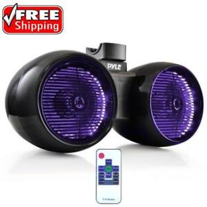 PYLE PLMRWB852LEB DUAL 600 WATT 8'' MARINE TOWER SPEAKERS FOR YOUR WAKEBOARD MULTI-COLOR LED LIGHTS BLACK